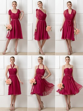 Stylish A-Line Tea-Length Convertible Chiffon Bridesmaid Dress