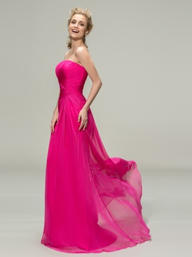Pure Strapless Sheath Long Bridesmaid Dress
