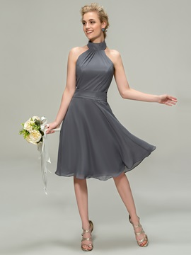 Halter A-Line Knee Length Bridesmaid Dress