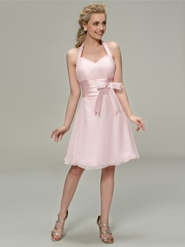 Vigorous Bowknot Halter A-Line Short Bridesmaid Dress