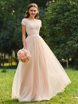 Short Sleeves Sashes Lace Bridesmaid Dress