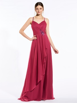 Spaghetti Straps Sequined Appliques Bridesmaid Dress