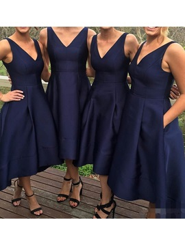 Simple Matte High Low Bridesmaid Dress