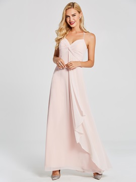 Simple Halter Pleats A-Line Long Bridesmaid Dress