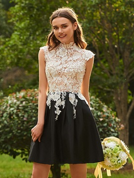High Neck Lace Top Short Bridesmaid Dress