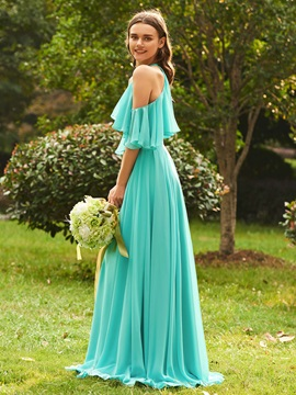 Cold Shoulder Beaded Ruffle Sleeves Bridesmaid Dress