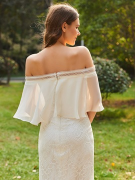 Off the Shoulder Sleeves Column Lace Bridesmaid Dress