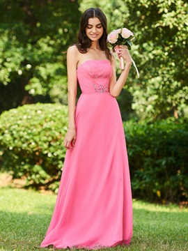 Strapless Lace Beading Long Bridesmaid Dress