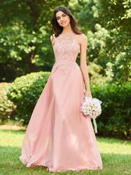 Halter Lace Top Long Backless Bridesmaid Dress