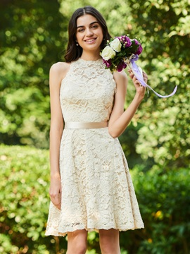 A-Line Sashes Short Lace Bridesmaid Dress
