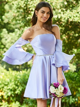 Beaded Strapless Short Bridesmaid Dress with Sleeves