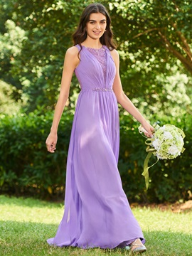 Lace Back Beading Bridesmaid Dress