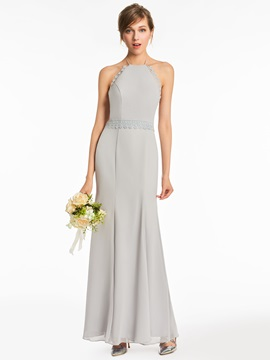 Halter Lace Backless Bridesmaid Dress