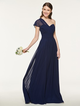 One Shoulder A-Line Long Bridesmaid Dress