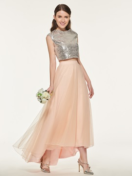Sequins Two Pieces Bridesmaid Dress