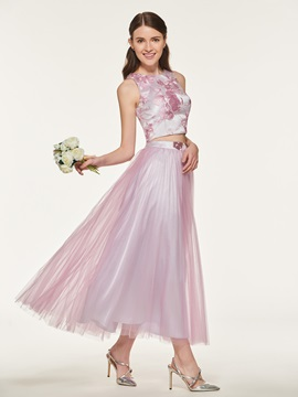 Lace Two Pieces Tea-Length Bridesmaid Dress
