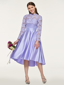 Long Sleeve Lace Top Bridesmaid Dress