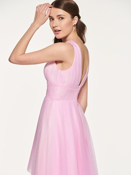 Empire Waist A-Line Beading High Low Bridesmaid Dress