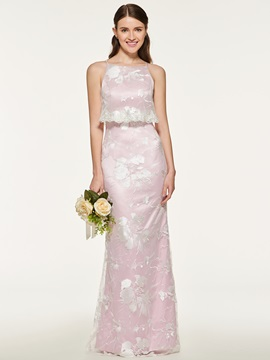 Straps Lace Sheath Bridesmaid Dress