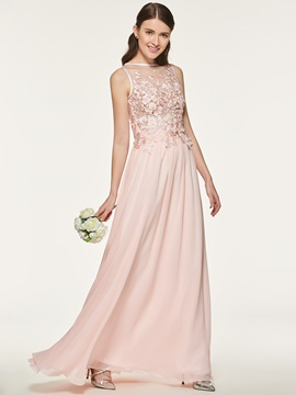 Beading Appliques Long Bridesmaid Dress