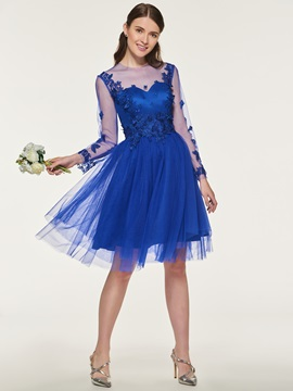 Appliques Short Bridesmaid Dress with Long Sleeve