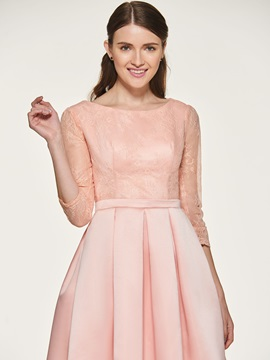 Pocket Short Lace Bridesmaid Dress with Sleeve