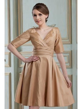 Enchanting Ruched A-Line V-Neck Short/Mini Half Sleeves Nadya's Bridesmaid Dress
