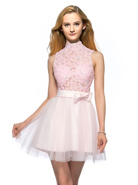 Great A-Line High Neck Appliques Beading Backless Short Homecoming/Prom Dress