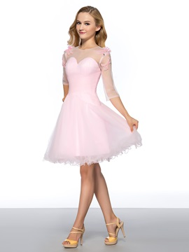 Pure A-Line Half Sleeves Bowknot Beading Knee-Length Homecoming Dress