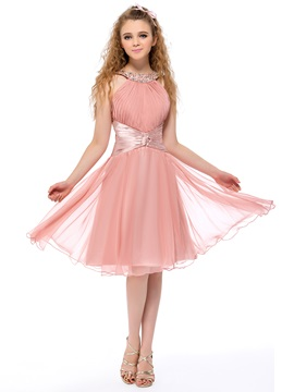 Fine Halter A-Line Beading Ruched Knee Length Homecoming Dress