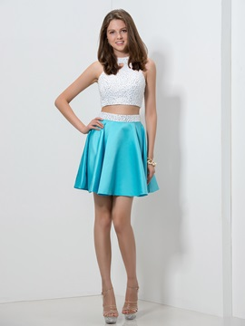 Hollow Pearls Beaded Two Piece Homecoming Dress