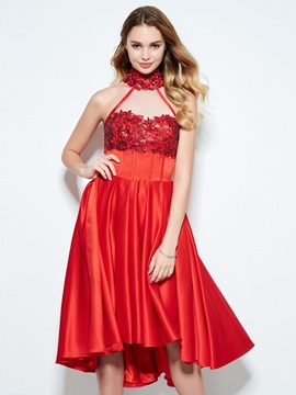 High Neck Sequins High Low Homecoming Dress