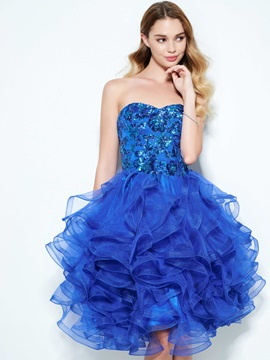 Attractive Sweetheart Ruffles Sequins Homecoming Dress