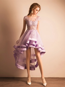 Charming Scoop Neck Cap Sleeves Appliques High Low Homecoming Dress