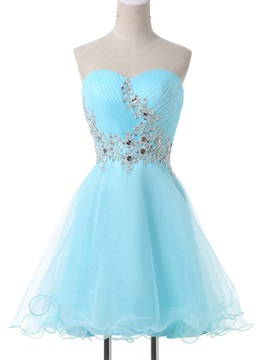 A-Line Sweetheart Appliques Beading Lace-Up Homecoming Dress