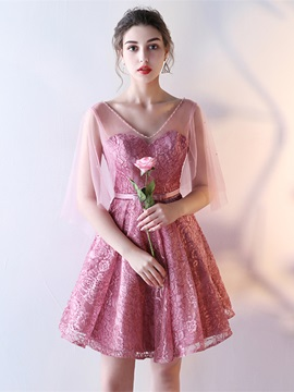 Charming A-Line Half Sleeves Bowknot Lace V-Neck Sashes Knee-Length Homecoming Dress