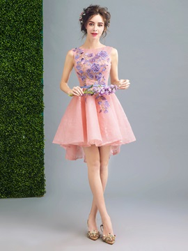 Charming Appliques A-Line Scoop Lace Sashes Backless Mini Homecoming Dress