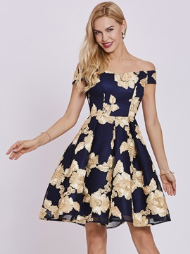 Stylish Off-the-Shoulder A-Line Flowers Lace Short Sleeves Homecoming Dress