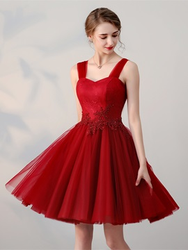 Simple A-Line Appliques Beading Lace Straps Short Homecoming Dress