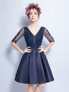 A-Line V-Neck Appliques Beading Homecoming Dress