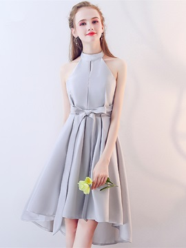 Timeless A-Line Bowknot Halter Asymmetry Homecoming Dress