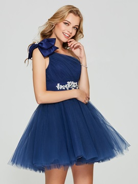 Elegant A-Line One-Shoulder Beading Bowknot Pleats Knee-Length Homecoming Dress