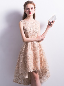 Eye-Catching A-Line Scoop Lace Asymmetry Homecoming Dress