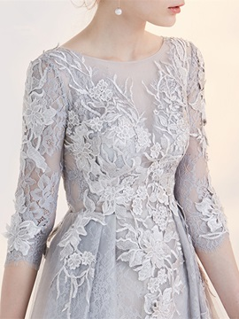 Gorgeous A-Line Bateau 3/4 Length Sleeves Appliques Lace Short Homecoming Dress