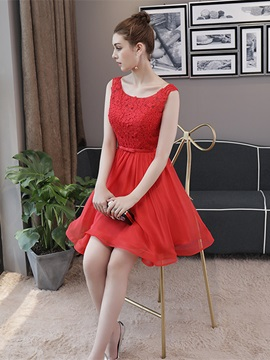 A-Line Appliques Bowknot Sashes Scoop Homecoming Dress