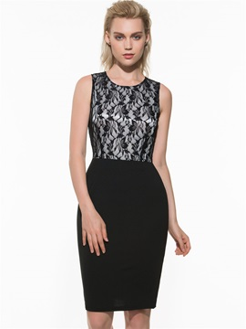 Lace Patchwork Sleeveless Women's Bodycon Dress