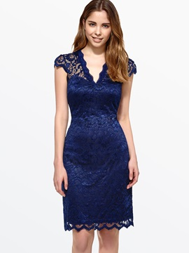 V-Neck Cap Sleeve Women's Lace Dress