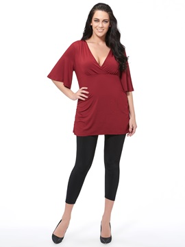 Special V-Neck Half Sleeves Plus Size T-Shirt