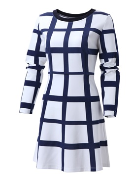 Plaid Long Sleeve Expansion Women's Skater Dress