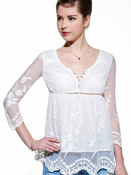 White Solid Color Lace Women